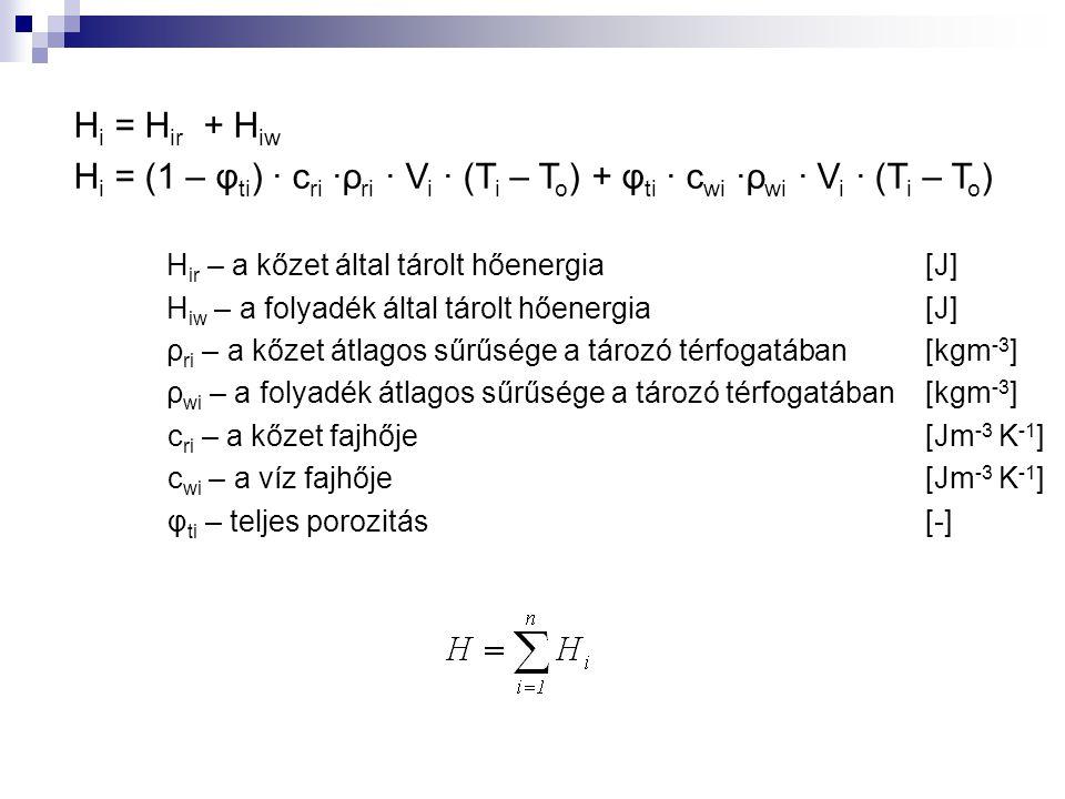 Hi = Hir + Hiw Hi = (1 – φti) ∙ cri ∙ρri ∙ Vi ∙ (Ti – To) + φti ∙ cwi ∙ρwi ∙ Vi ∙ (Ti – To) Hir – a kőzet által tárolt hőenergia [J]